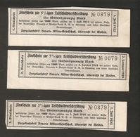 T. Germany 3psc. X Zinsschein Porzellanfabrik Bavaria Coupon Kupon 1923 No. 0879 Watermark - Germany