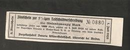 T. Germany 3. Zinsschein Porzellanfabrik Bavaria Coupon Kupon 1923 No. 0880 Watermark - Germany