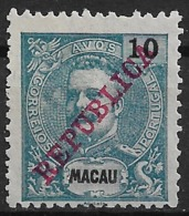 Macau Macao – 1911 King Carlos Overprinted REPUBLICA 10 Avos - Nuovi