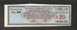 T. Germany Zinsschein Bayerische Bodencredit Anstalt Coupon Kupon 1922 Ser. XVI Lit. B No. 226049 Watermark - Germany