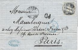 1869- Lettre De Zurich Pour Paris - Affr.  30 C N° 41 Entrée Par St Louis Bleue Pour Paris - Covers & Documents