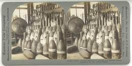 Photo Stéréoscopique - Obus Récupérés Par Les Forces Alliés ( Guerre 14/18, War ) - Photos Stéréoscopiques