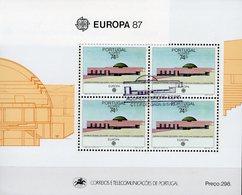 EUROPA 1987 Azoren Block 8 O 10€ Architektur Parlament Horta Hojita S/s Bloc M/s Architectur Sheet CEPT Bf Portugal - Açores