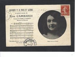 Autographe Signature à L'encre Sur Carte Postale Lina Cambardi - Autographes