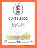 étiquette Vin De Bordeaux Claret Cuvée 2000 Manchester 2000 à Floirac - 75 Cl - Football - Bordeaux