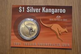 2004 AU Australia 1 Oz Silver Kangaroo (In Display Card) 1 OZ Brilliant Uncirculated - Mint Sets & Proof Sets