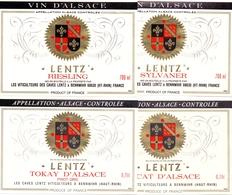 Etiket Etiquette - Vin - Wijn - D' Alsace - Lentz - Bennwihr - Serie 4 Pièces - Etiquettes