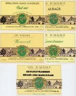 Etiket Etiquette - Vin - Wijn - D' Alsace - Klug - Bennwihr - Serie 5 Pièces - Etiquettes