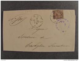"""4418 ITALIA Regno-1890-91- """"Effigie Umberto Sopr."""" C. 20 Su 30 GAETA>CASTIGLIONFIORENTINO (descrizione) - Marcophilia"""