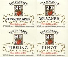 Etiket Etiquette - Vin - Wijn - D' Alsace - Théo Cattin & Fils à Voegtlinshoffen - Serie 4 Pièces - Labels