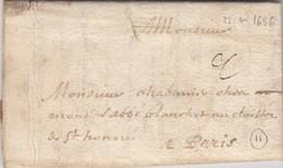 LETTRE . PUY-DE-DOME. 23 AVRIL 1696. A CLERMONT POUR PARIS ST HONORÉ - Marcophilie (Lettres)
