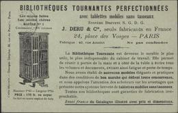 CP CPA Publicitaire Bibliothèques Tournantes Perfectionnées J Deru Paris YT Sage 83 1ct CAD 1898 Seule Année Lisible - Publicidad
