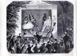 Courbevoie, Le Théatre Militaire Des Grenadiers à La Caserne - Gravure Sur Bois De 1857 - Estampes & Gravures