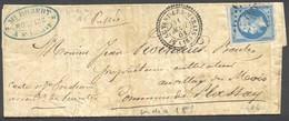 1154) N°14 Type II Cachet Perlé De St. Agnant Les Marais (16 Charente) Du 31/8/1861 - Marcophilie (Lettres)