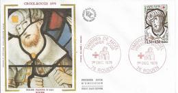 Env Fdc France N° 2071 Rouen,1/12/79, Croix Rouge, église Jeanne D'arc à Rouen, Simon Le Magicien, Vitrail - FDC