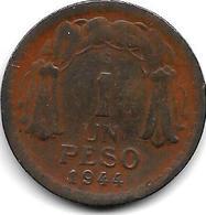 *chile 1 Peso 1944  Km 179 Vf+ - Chili