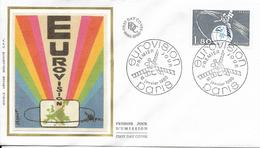 Env Fdc France N°2073 Paris,12/1/80, Eurovision, Satellite, Carte D'europe - FDC