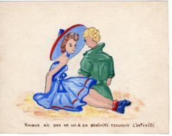 FANTAISIES - Illustrateurs Non Signés, Dessin Fantaisie Couple Idylle   L'amour N' Ap Pas .....  Nov 2018 Img316) - Other Collections