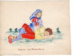 FANTAISIES - Illustrateurs Non Signés, Dessin Fantaisie Couple   Idylle Sentimentale  .....  Nov 2018 Img318) - Other Collections