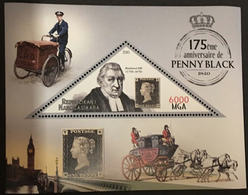 MADAGASCAR 2016 STAMP ON STAMP PENNY BLACK TRIANGLE STAGE COACH BIKE S11679-2 - Stamps On Stamps