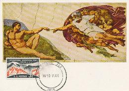D35581 CARTE MAXIMUM CARD 1958 USA - CREATION OF ADAM MICHELANGELO CP ORIGINAL - Nudes