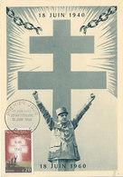 D35597 CARTE MAXIMUM CARD FD 1960 FRANCE - CROIX DE LORRAINE CROSS - DE GAULLE CP ORIGINAL - Coat Of Arms