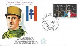 Env Fdc France N°2114 Paris, 8/11/80, Appel Du 18 Juin Du Général De Gaulle - 1980-1989