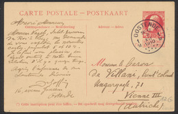 Carte Paquebot Ostende-Douvres (10ctm Grosse Barbe) : Pieter Deconinck Voyagé De Oostende 7/12/10 Vers Vienne III - Entiers Postaux