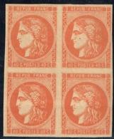 France 1870 YT 48a* Rare Bloc De 4 Signé (petits Défauts Au Verso) - 1870 Bordeaux Printing