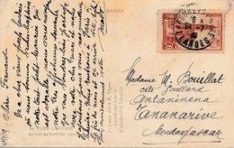 Carte Timbre Cathédrale Strasbourg Labouheyre Landes Pour Tananarive Madagascar - 1921-1960: Modern Tijdperk