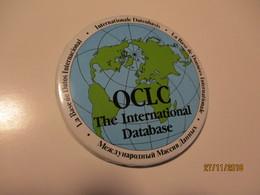 OCLC THE INTERNATIONAL DATABASE BUTTON BADGE . GLOBE MAP,  0 - Computers