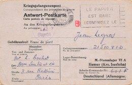 Carte Prisonnier Stalag VI A Hemer (Krs. Iserlohn) 601F - Poststempel (Briefe)