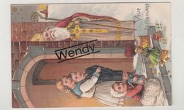 4 Cartes/kaarten Reliëf/gauffré Saint Nicolas        Mooi - Sinterklaas