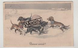 Teckel/Dachshund/basset (2 Kaarten Illustratie Niet Gehandtekend - 1 Van Vienne Serie 800) - Honden