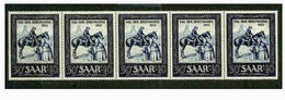 SAAR 1952 STRIP OF 5 STAMP ON STAMP STAMPDAY MNH  HORSE S11869-1 - Stamps On Stamps