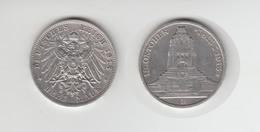 Silbermünze Sachsen 3 Mark 1913 E Jäger 140 13. Oktober Völkerschlachtdenkmal - Coins