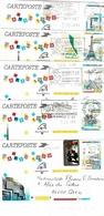 Cartes De La Série 2579/2583 CP 1 Circulées - Lots Et Collections : Entiers Et PAP