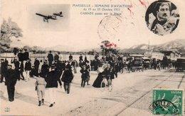 85Ct  Marseille Semaine D'aviation Avion Garros Passe Sur La Plage En 1911 - Reuniones