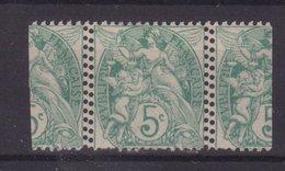 FRANCE : N° 111 *  . TYPE BLANC . 5 Cts . DOUBLE PIQUAGE . 1907 . - Marcophilie (Timbres Détachés)