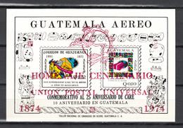 Guatemala 1974,2V In Block Ovpt RED,IMP,centenario De La UPU 1874-1974,Union Postale Universelle,MNH/Postfris(L3325) - UPU (Universal Postal Union)