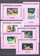 Dahomey 1974,6 LUXE Blocks,centenario De La UPU 1874-1974,Union Postale Universelle,MNH/Postfris(L3327) - UPU (Universal Postal Union)