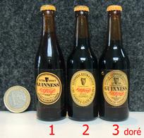 Mignonnette - IRLANDE Bière GUINNESS Bouteille Miniature 8.5cm (verre + Capsule) N°3 Sur La Photo à Droite (etiq Métal) - Miniatures