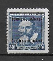 BÖHMEN UND MÄHREN - 1939 - MICHEL N° 6 I VARIETE 8ÖHMEN Au Lieu De BÖHMEN  * MH - SIGNES GILBERT (COTE 2009 = 35 EUR) - Bohême & Moravie
