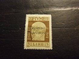 FIUME 1921 GOVERNO PROVVISORIO 5 L NUOVO * - 8. Occupazione 1a Guerra