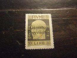 FIUME 1921 GOVERNO PROVVISORIO 10 L NUOVO * - 8. Occupazione 1a Guerra