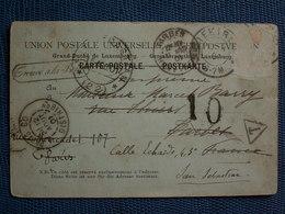 """CPA   1901 Grand Duché Du Luxembourg Pour San Sébastien / Tp Déchiré - """" Trouvé à La Boîte """"taxé 10 - Postage Due"""