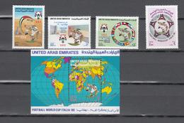United Arab Republic 1990,4V+Block,World Championship Italy,football,fussball,voetbal,fútbol,calcio,,MNH/Postfris(L3328) - Wereldkampioenschap