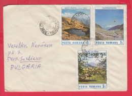 238911 / COVER 1990 - LANDSCAPE LAKE MOUNTAIN TRANSPORT LIFT CABIN  , Romania Rumanien - Lettres & Documents