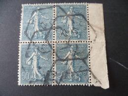 SEMEUSE 50 CTS BLEU  BLOC DE 4  OBLITERE SECOND CHOIX - 1903-60 Semeuse Lignée