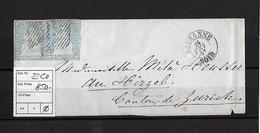 1854-1862 SITZENDE HELVETIA Ungezähnt (Strubel)  → SBK-23Ca / B2 Lausanne Nach Hirzel - Lettres & Documents